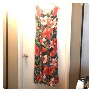 Colorful flower print long dress